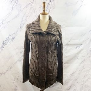 Mossimo Supply Co Brown Fuzzy Cardigan Sweater L
